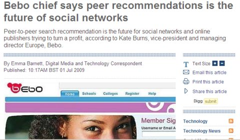 Kate Burns, Bebo Chief says peer recommendations are the future of social networking