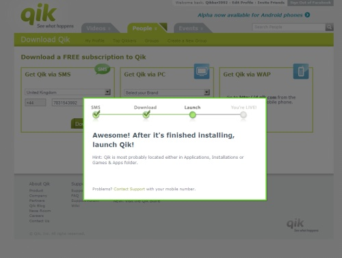 Qik have an excellent mobile app install process from their website, closing the loop between PC and mobile & ensuring users complete the install there and then