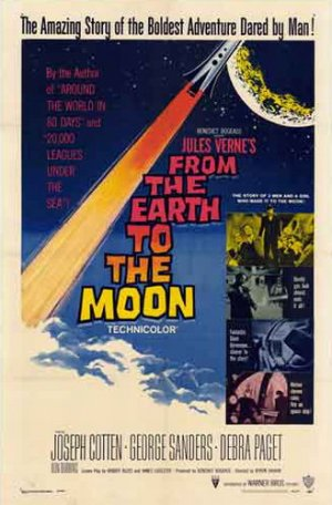 A poster for the 1958 film adaptation of Jules Vernes book From the Earth to the Moon (French: De la terre à la lune) written in 1865, 101 years before the first men landed on the moon.